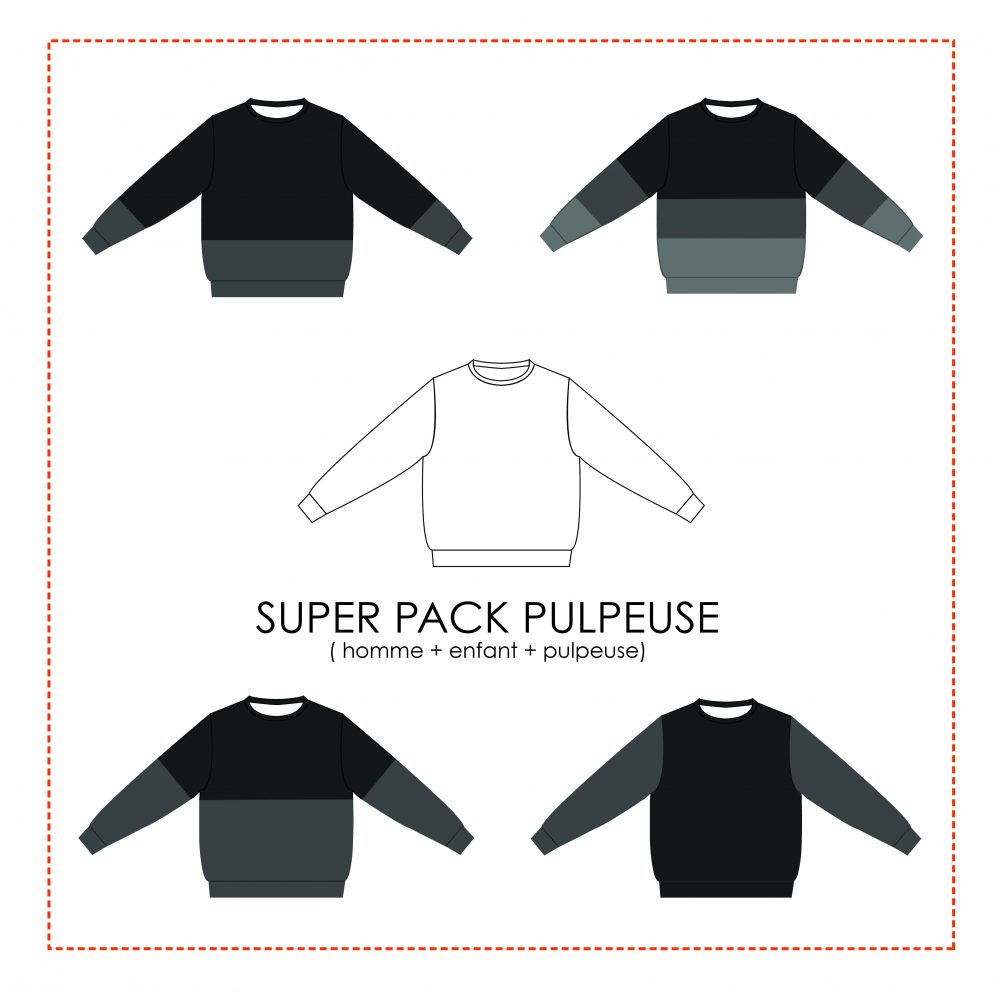 Super pack 3 patrons de sweat à coudre